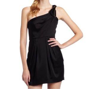 BCBG black satin one shoulder cocktail dress